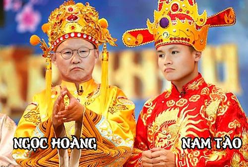 Thầy Park sắm vai Ngọc Hoàng trong khi Quang Hải biến thành Nam Tào,