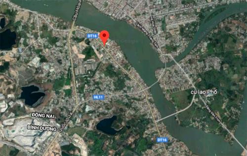 Vị trí Tỉnh lộ 16 nối Bình Dương và Đồng Nai.