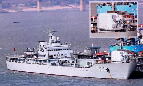 Pháo điện từ lắp trên tàu đổ bộ Type-072III hồi tháng 2/2018. Ảnh: SCMP.