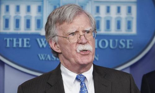 Cố vấn Bolton trong cuộc họp báo tại Nhà Trắng hôm 28/1. Ảnh: AFP.