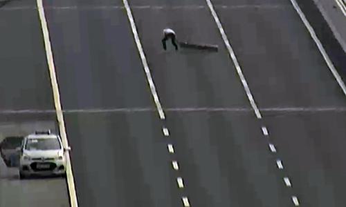 Tài xế dừng xe ở làn khẩn cấp và để đưa vật cản ra khỏi đường. Ảnh: Thông tin cao tốc HN - HP