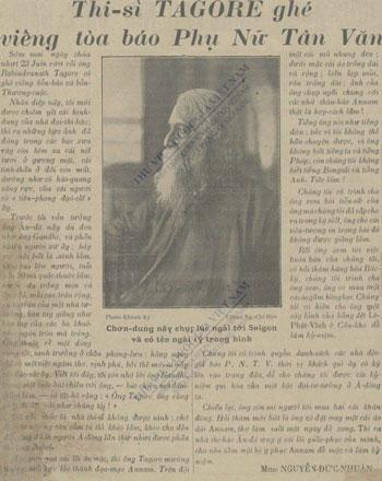 Hình ảnh bài vềTagore trên báo Phụ nữ Tân văn số 10. Ảnh tư liệu.