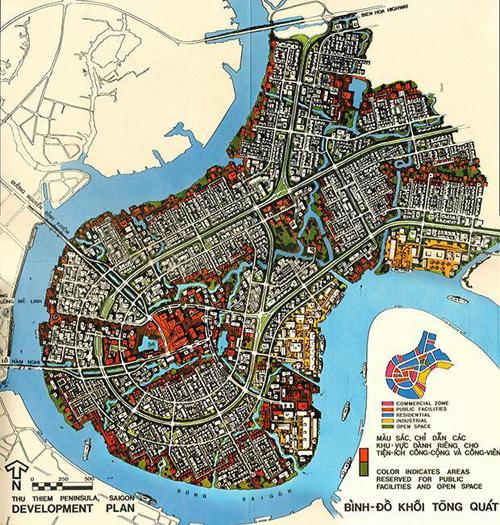 Quy hoạch Thủ Thiêm năm 1972. Nguồn: Wurster, Bernadi and Emmons Architects and Planners.