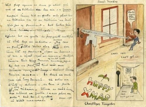 Tấm thiệp ẩn chứa mật thư được Eamon de Valera gửi ra bên ngoài.