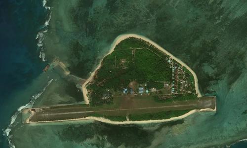 Ảnh vệ tinh hồi tháng 12/2018 cho thấy cầu tàu Philippines xây dựng trái phép trên đảo Thị Tứ của Việt Nam. Ảnh: AMTI.