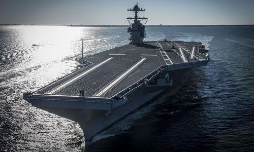Siêu tàu sân bay USS Gerald R. Ford ra biển thử nghiệm năm 2018. Ảnh: US Navy.