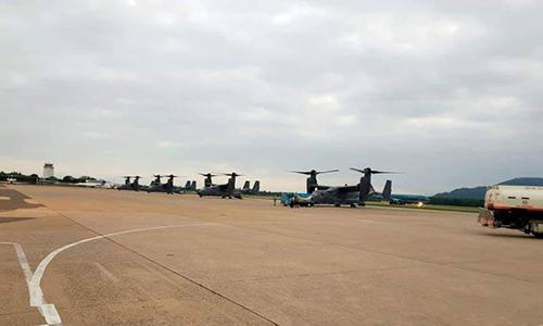 Trực thăng CV-22 của Mỹ dừng tại Đà Nẵng hôm 5/2 để tiếp liệu trước khi sang Thái Lan tham gia tập trận. Ảnh: Twitter.