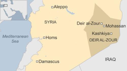 Vị trí thành phố Deir al-Zour ở miền đông Syria, gần biên giới Iraq. Đồ họa: BBC.