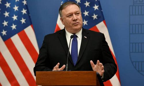 Ngoại trưởng Mỹ Mike Pompeo phát biểu trong cuộc họp báo tại Budapest, Hungary hôm 11/2. Ảnh: Reuters.