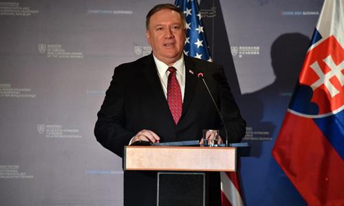 Ngoại trưởng Mỹ Mike Pompeo phát biểu trong cuộc họp báo hôm 12/2 tại Bratislava, Slovakia. Ảnh: AFP.