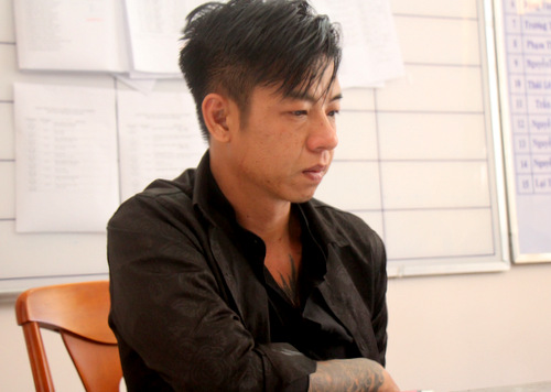 Duong Fu Vin at the police office. Photo: Nguyen Hoa.