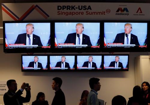 Trung tâm truyền thông dành cho các phóng viên tác nghiệp cuộc gặp Trump - Kim ở Singapore. Ảnh: Reuters.