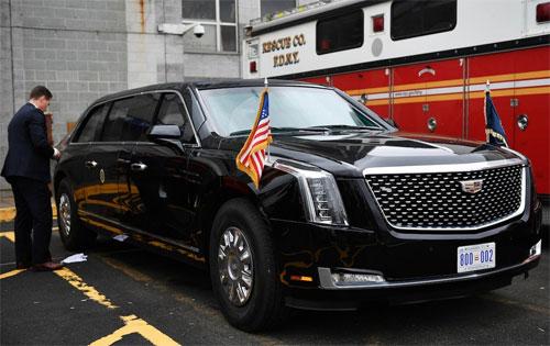 Cadillac  The Beast 2.0 được thiết kế riêng cho Trump lần đầu tiên xuất hiện ở New York hồi tháng 9/2018. Ảnh: Twitter