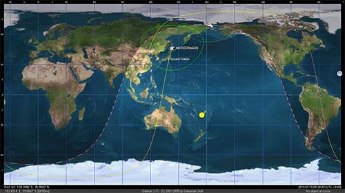 Vệ tinh MicroDragon tại thời điểm liên lạc với trạm mặt đất ở lần liên lạc thứ 3 vào khoảng 9h30 (giờ Nhật Bản), ngày 19/1.