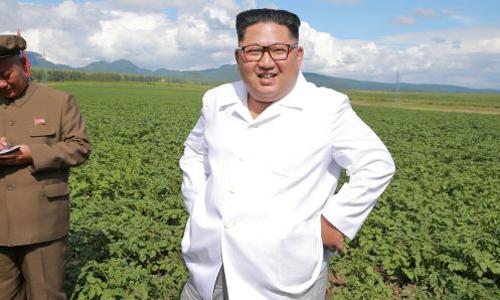 Lãnh đạo Triều TiênKim Jong-un thăm một nông trang ởSamjiyon. Ảnh: Reuters/ KCNA.