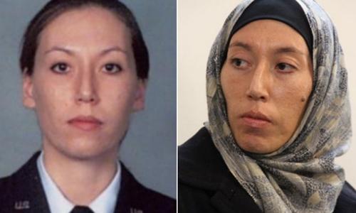Monica Witt khi còn phục vụ trong quân đội Mỹ (trái) và sau khi trốn sang Iran (phải). Ảnh: FBI.