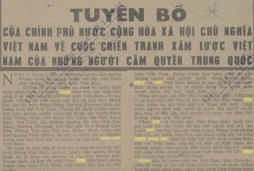 Tuyên bố của Chính phủ VIệt Nam về cuộc chiến tranh xâm lược của Trung Quốc trên báo Nhân dân tháng 2/1979.