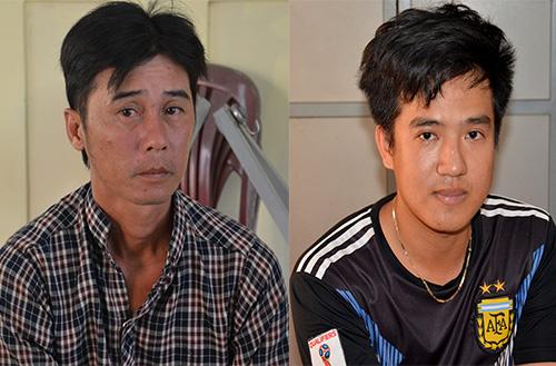 Đức (bìa trái) cùng Long bị cảnh sát bắt giữ. Ảnh: Thanh Liêm