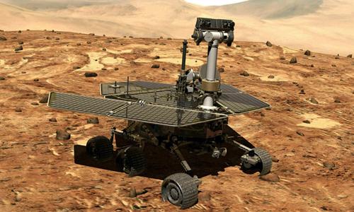 Xe thám hiểm Opportunity trên bề mặt sao Hỏa. Ảnh: AP.