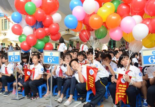 Học sinh trường THCS Trưng Vương trong lễ khai giảng tháng 9/2017. Ảnh: Hoàng Thùy