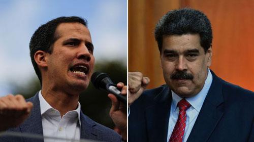 Tổng thống Maduro (phải) và lãnh đạo đối lập Guaido. Ảnh: Sky.