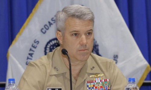 Chuẩn đô đốc Boxall tại hội thảo quân sự hôm 14/2. Ảnh: US Navy.
