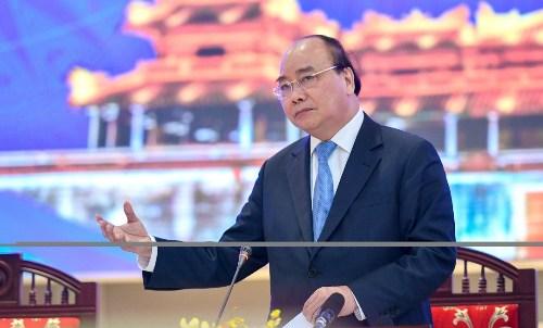 Thủ tướng Nguyễn Xuân Phúc tại hội nghị giao ban. Ảnh: Cổng thông tin Chính phủ