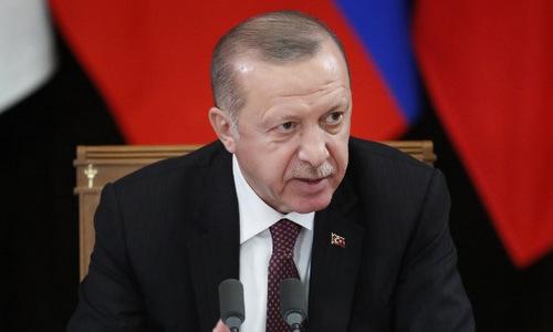 Tổng thống Thổ Nhĩ Kỳ trong một cuộc họp báo hôm 14/2. Ảnh: AFP.