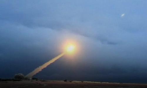 Một vụ phóng thử tên lửa hạt nhân do ông Putin hé lộ. Ảnh chụp màn hình.