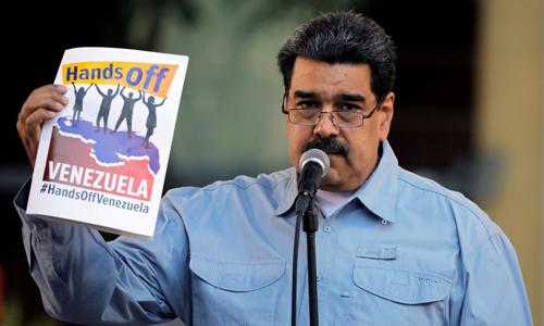 Tổng thống Venezuela Nicolas Maduro phát biểu trước những người ủng hộ ở thủ đô Caracas hôm 7/2. Ảnh: Reuters.