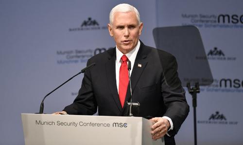 Phó tổng thống Mỹ Mike Pence phát biểu tại Hội nghị An ninh Munich tổ chức tại thành phố Munich, Đức hôm 16/2. Ảnh: AFP.