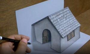 Vẽ ngôi nhà 3D trên giấy