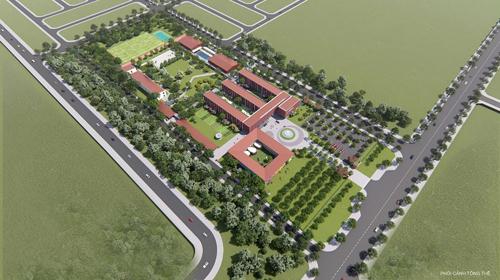 A1: A7: Mô hình trường iSchool Quảng Trị với hệ thống 500 cây xanh và thảm cỏ được phủ kín