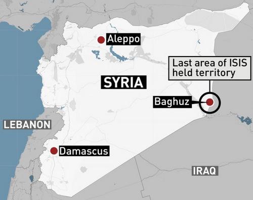 Vị trí làng Baghouz ở phía đông Syria. Đồ họa: CBC.