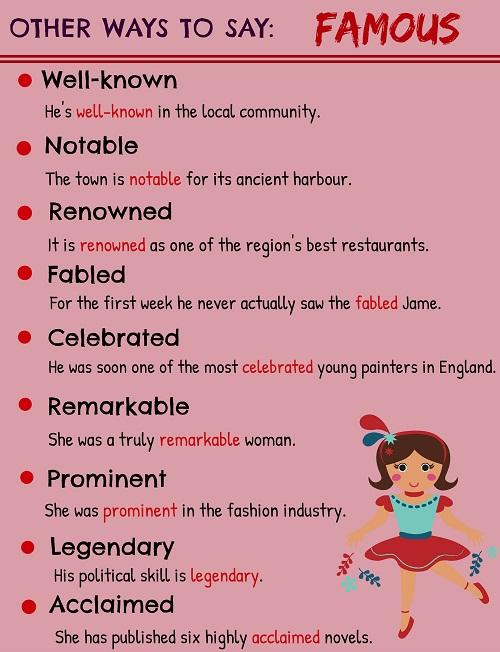 Những từ vựng thay thế famous