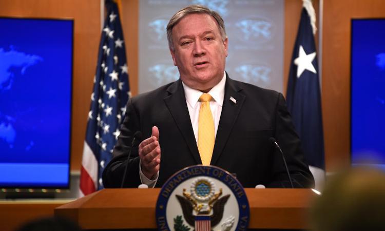 Ngoại trưởng Mỹ Mike Pompeo phát biểu tại cuộc họp báo ở Washington hôm 1/2. Ảnh: AFP.