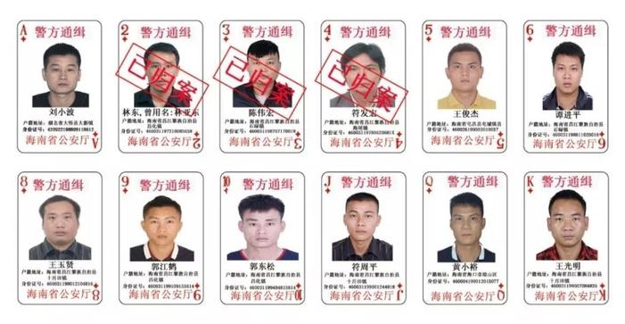 Những người ra đầu thú có dấu đỏ. Ảnh: Công an tỉnh Hải Nam, Trung Quốc.