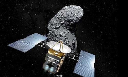 Hayabusa 2 bay tới tiểu hành tinh cổ Ryugu vào tháng 6/2018. Ảnh: JAXA.