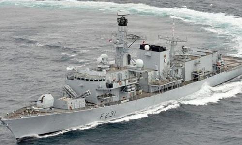 Tàu hộ vệ HMS Argyll của hải quân Anh trong cuộc diễn tập trên Biển Đôngngày 16/1. Ảnh: Strait Times.