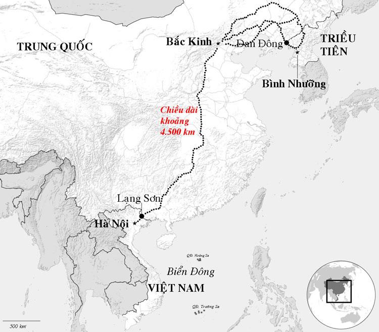 Hành trình đoàn tàu bọc thép chở Chủ tịch Kim Jong-un có thể đi qua để tới Việt Nam. Đồ họa: Bloomberg.