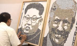 Chân dung hai lãnh đạo Trump và Kim khắc họa từ 7.000 con ốc vít