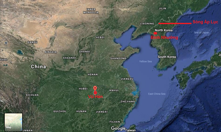Tàu chở Chủ tịch Triều Tiên Kim Jong-un xuất phát từ Bình Nhưỡng hôm 23/2, được cho là đi qua thành phố Vũ Hán, miền trung Trung Quốc sáng nay. Đồ họa: Google Maps.
