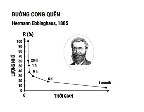 Đường cong quên do nhà tâm lý học Hermann Ebbinghaus đưa ra.