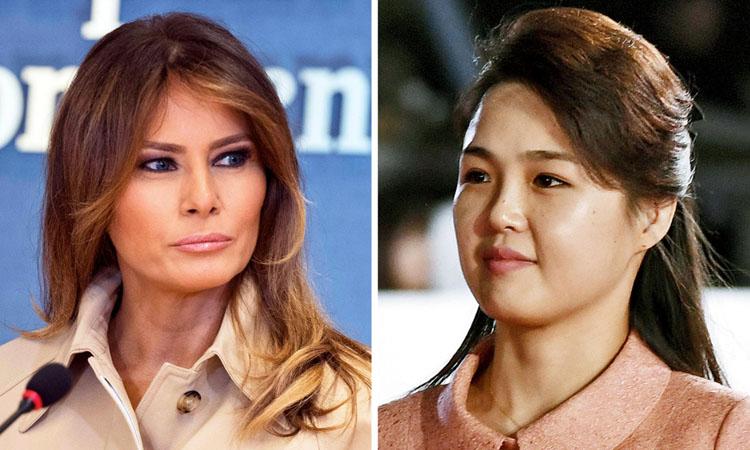 Đệ nhất phu nhân Mỹ Melania Trump (trái) và Đệ nhất phu nhân Triều Tiên Ri Sol-ju. Ảnh: Times.