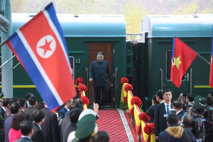 Chủ tịch Kim Jong-un đến ga Đồng Đăng, tỉnh Lạng Sơn sáng nay. Ảnh: Giang Huy