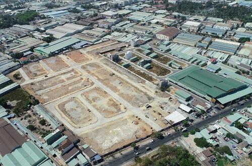 Dự án Lộc Phát Residence tại mặt tiền đường 22 Tháng 12, phường Thuận Giao, thị xã Thuận An, tỉnh Bình Dương đang hoàn thiện hạ tầng.