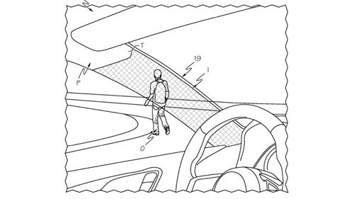 Bằng sáng chế ý tưởng cột A lắp kính hiển thị hình ảnh bị che khuất phía saucủa Toyota. Ảnh: Autoblog.