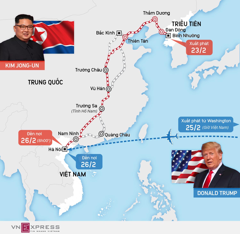 Hai con đường tới Việt Nam họp thượng đỉnh của lãnh đạo Mỹ - Triều
