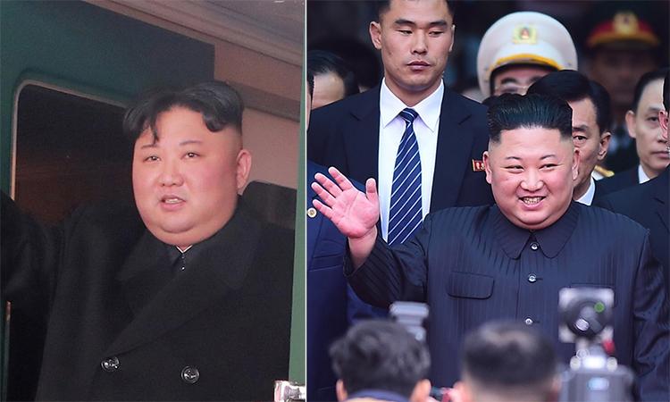 Mái tóc ông Kim Jong-un thay đổi trước (trái) và sau khi đến Việt Nam. Ảnh: Reuters - Giang Huy