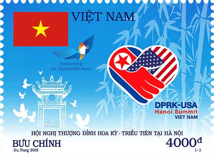 Mẫu tem chào mừng thượng đỉnh Mỹ - Triều tại Hà Nội.